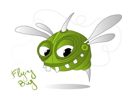 fly cartoon: Small green flying bug with string and teeth