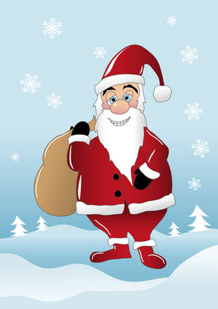 Santa Claus with bag full with gifts Stock Vector - 10902947