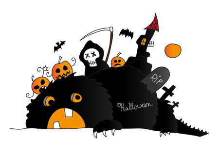 Halloween scene with monster, death and pumpkins Illustration