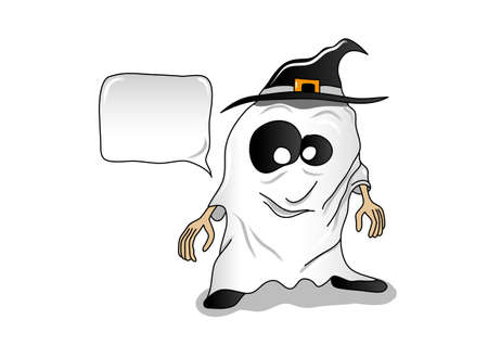 Smiling little Halloween ghost with black hat and big eyes