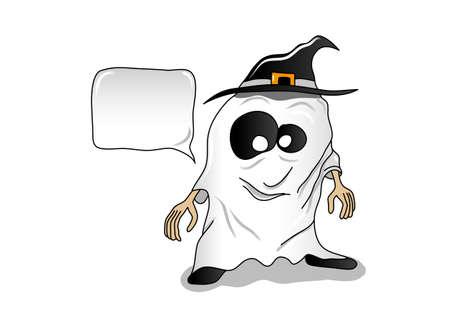 occhi grandi: Sorridente piccolo fantasma di Halloween con cappello nero e gli occhi grandi