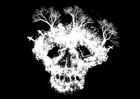 Abstract skull with trees and graveyard on black background vector illustration