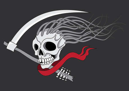 Death with scythe tattoo vector illustration isolated
