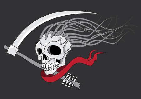 rocker: Death with scythe tattoo vector illustration isolated