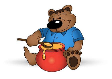 oso caricatura: Oso sonriente feliz con tarro de miel Vectores