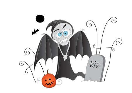Halloween friends - pumpkin and death in a graveyard Illustration
