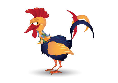 fowl: Smiling Rooster illustration fully editable Illustration