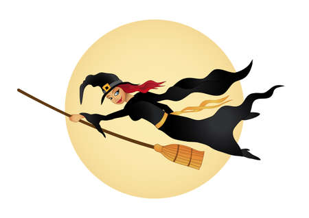 Halloween witch flies wit her broom illustration fully editable Illustration