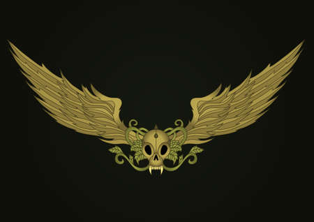 tattoo wings: Golden vampire skull with wings design element Illustration