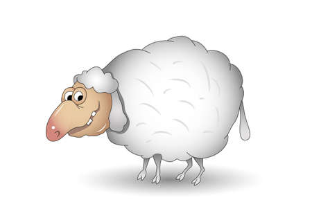 Smiling funny cartoon sheep with pink nose