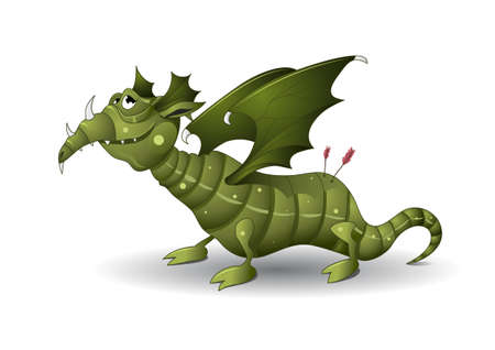 Green cartoon dragon illustration. Fully editable. Gradients are used only. No flatten transparency.