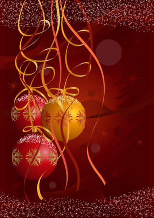 Christmas postcard vector background with red and gold balls, Christmas trees and snow. Only gradients on different layers are used. No flatten transparency. Fully editable.