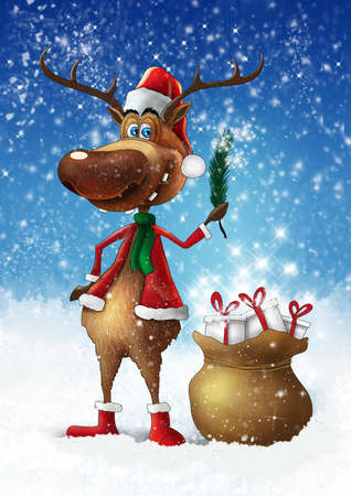 Christmas deer with branch and bag with gifts illustration