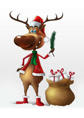 Christmas deer with branch illustration isolated on white background Stock Photo