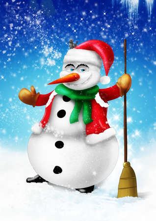 Smiling snowman with broom and green scarf on blue background illustration