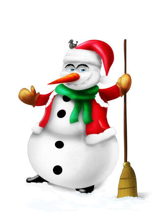 Smiling snowman with broom and green scarf isolated on white background illustration Stock Photo