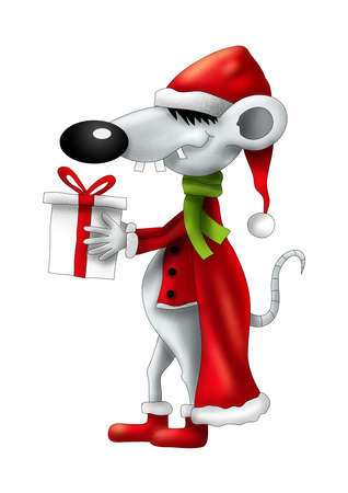 Christmas smiling cartoon mouse with gift illustration