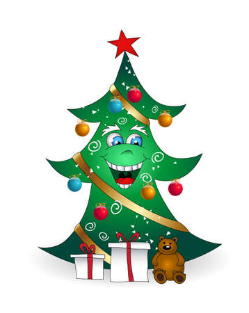 flatten: Christmas cartoon smiling tree vector illustration. Fully editable. Only gradients are used. No flatten transparency. Illustration