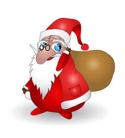Santa Claus with bag vector illustration. Fully editable. Only gradients are used. No flatten transparency.
