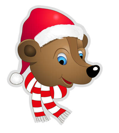 Christmas bear vector illustration. Fully editable. No flatten transparency. Illustration