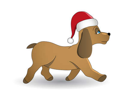 flatten: Christmas dog vector illustration. Fully editable. No flatten transparency.