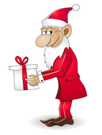 Christmas dwarf with gift vector illustration. Fully editable. No flatten transparency. Vector