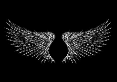 Tattoo vleugels geïsoleerd op zwarte achtergrond illustratie. Alles wordt gescheiden op verschillende laag.