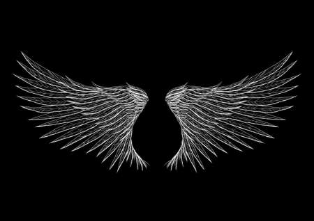 Tattoo wings isolated on black background illustration. Everything is separated on different layer.
