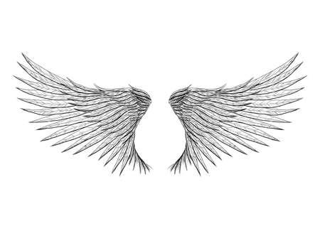 dessin tribal: Ailes de tatouage isol� sur fond illustration vecteur noir. Tout est s�par� sur une couche diff�rente. Illustration
