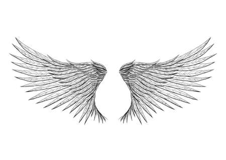 Tattoo wings isolated on black background vector illustration. Everything is separated on different layer.