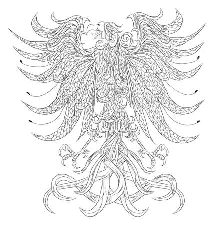 Very detailed heraldic eagle vector illustration. Isolated on white. Everything is separated on different layer. Illustration