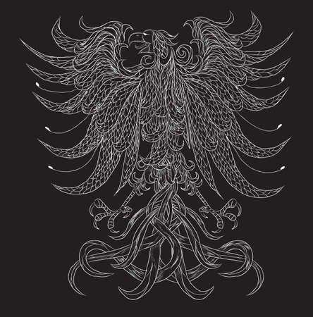 Very detailed heraldic eagle vector illustration. Isolated on black. Everything is separated on different layer. Illustration