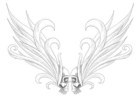 Skulls with wings illustration