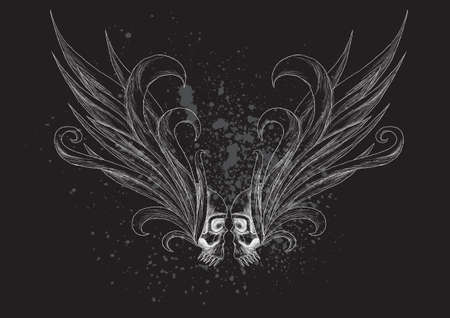 Skulls with wings  illustration  Illustration