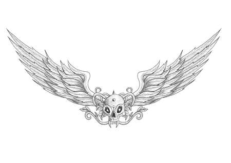Tattoo skull with wings vector illustration. Isolated on white. Everything is separated on 10 different layers.