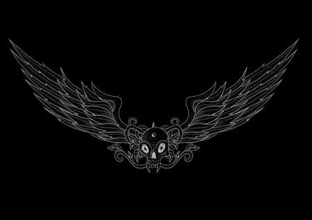 Tattoo skull with wings vector illustration on black background. Everything is separated on 11 different layers. Illustration