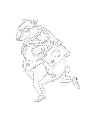 Happy running bear with honey pot vector illustration. Separated on layers.