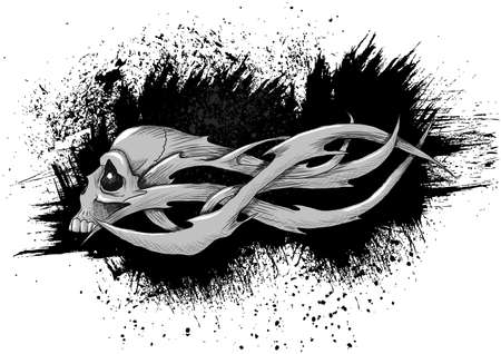 Skull tattoo vector illustration. Everything is separated on 12 different layers. Illustration