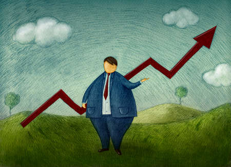 Hand drawn illustration of businessman who reach success