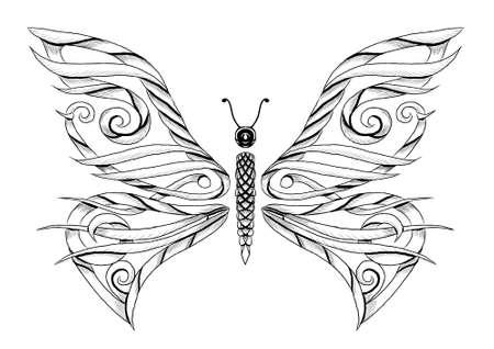 Butterfly tattoo illustration.  Illustration