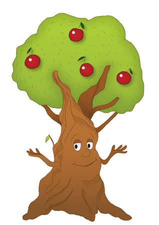 Cartoon apple tree . isolated on white. Editable. Separated on 8 different layers. No meshes. Only gradients.