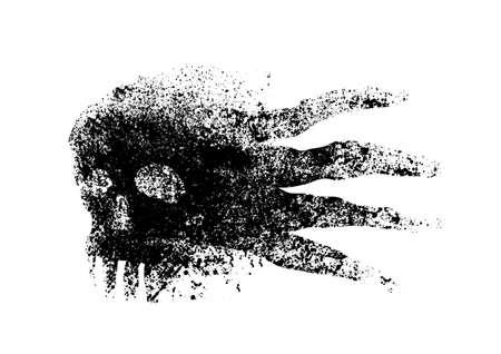 Abstract skull splatter vector illustration.