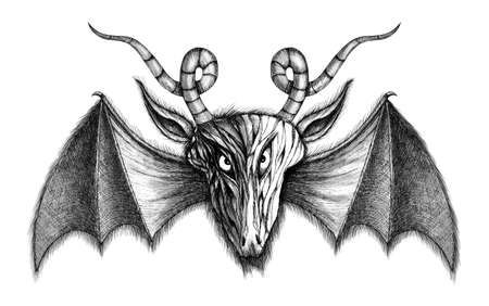 daemon: Demon with bat wings greyscale illustration  Isolated on white background