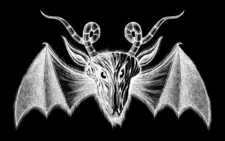daemon: Demon with bat wings greyscale illustration  Isolated on black background  Stock Photo