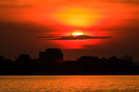 Sunset on the West lake  Ho tay  Ha Noi, Vietnam photo