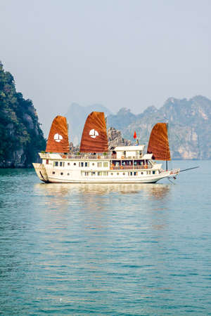 Tourist boat on Halong bay, Vietnam Stock Photo