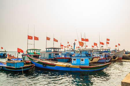 Boat on river at Quang Binh province, Vietnam photo