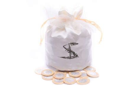 Money bag, coins photo