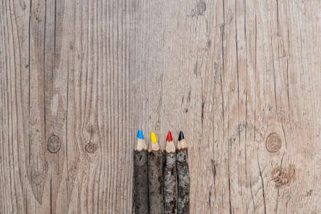 primary colors: Colored pencils, primary colors Stock Photo