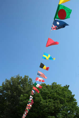nations: The flags of all nations of the athletic meet Stock Photo